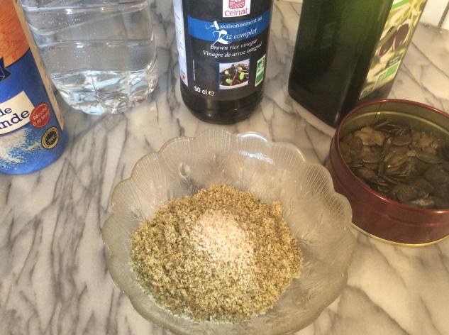 ingrédients sauce graines de courge