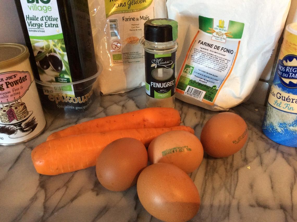 ingrédients cake salé sans gluten carottes fenugrec
