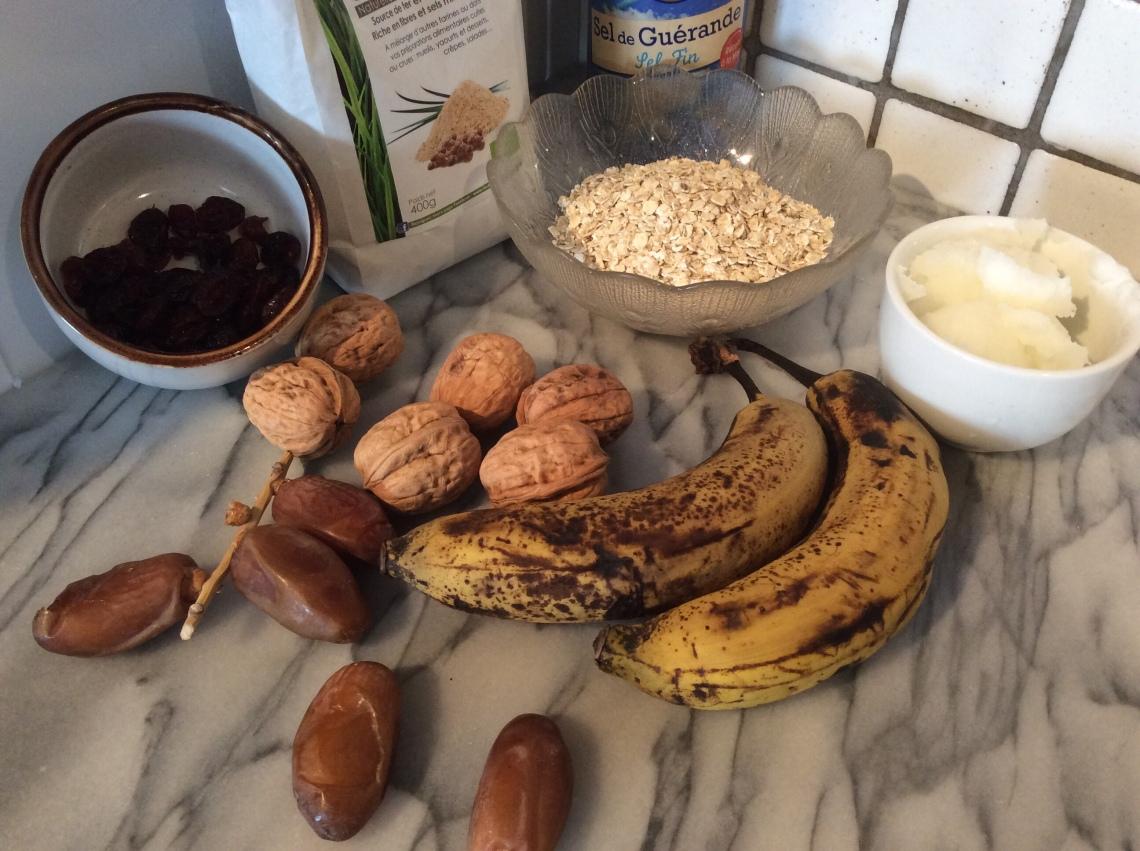 ingrédients pour barres de céréales sans gluten et sans sucre ajouté