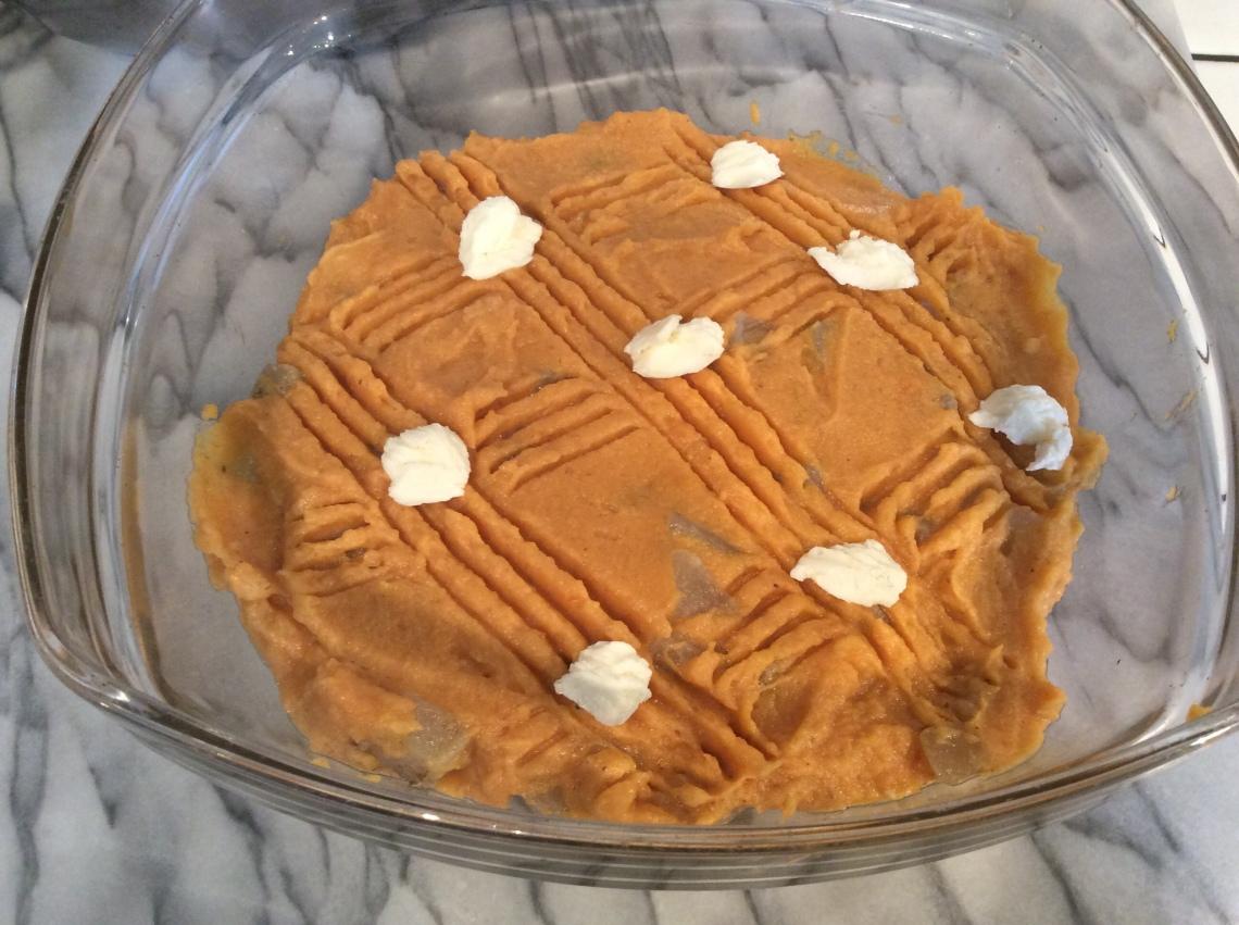 gratin de patate douce et chou-rave avant cuisson